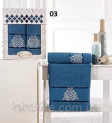 Набор махровых полотенец Gulcan Damask 50-90 см-1шт,70-140 см-1шт.Синий .