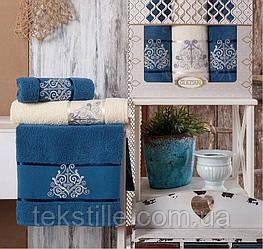 Набор махровых полотенец Gulcan Damask 50-90 см-2шт,70-140 см-1шт. синий..