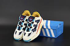 Чоловічі кросівки в стилі Adidas Niteball White\Blue\Yellow, фото 2