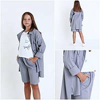 Дитячий шкільний костюм для дівчинки сорочка+шорти розмір 7-12 років, сірого кольору