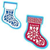 Різдвяний чобіток вирубка з трафаретом 10*7 см (TR-1)