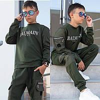 Подростковый стильный спортивный костюм на мальчика 10 11 12 13 14 15 лет серый черный синий хаки