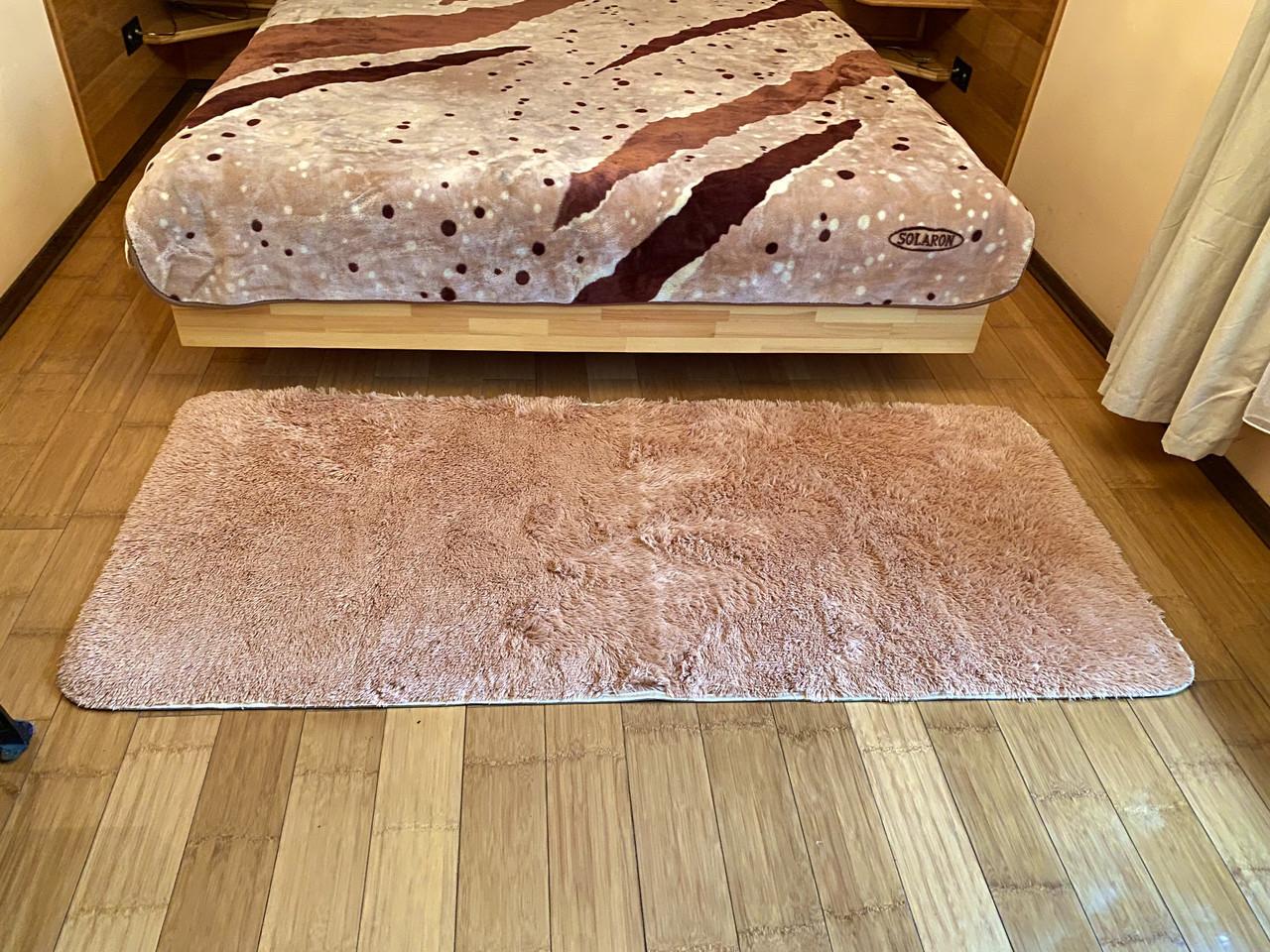 Меховый ворсистый коврик Травка 200х90/прикроватный коврик с длинным ворсом