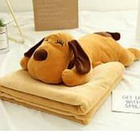 Плюшева іграшка-подушка собака з пледом всередині м'яка 3 в 1 krd0186