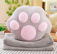 Плюшева іграшка-подушка лапка з пледом всередині м'яка 3 в 1 krd0187