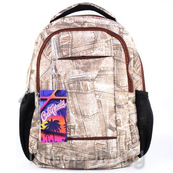 """Рюкзак школьный California """"S"""" Коричневий джинс, 38х28х11см."""