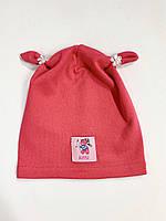 Дитяча шапка бавовна 46-48 розмір, колір кораловий