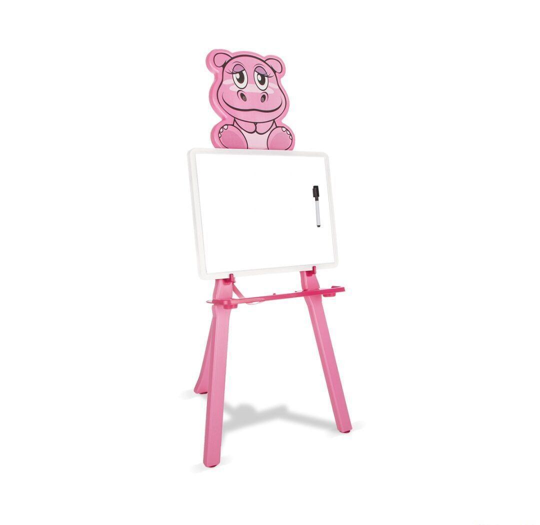 Мольберт для малювання на ніжках у вигляді бегемотика, в комплекті маркер 03-420 Pilsan, колір рожевий