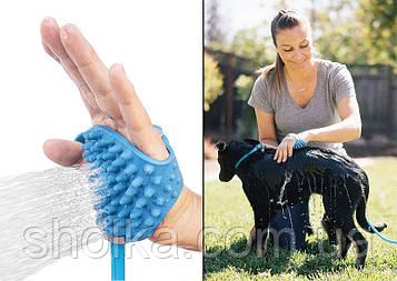Рукавичка для мийки тварин Pet Bathing Tool щітка-душ для собак Синя