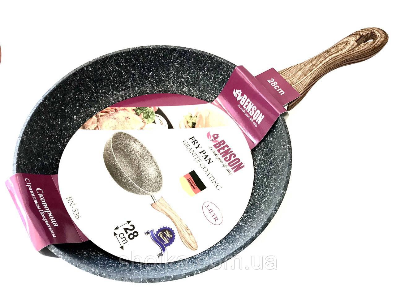 Сковорода Benson BN-536 с гранитным покрытием 28 см.