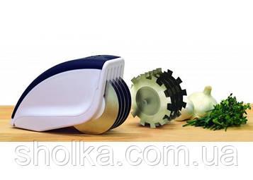 Ніж-прес-тендерайзер для нарізки Rolling Mincer і Tenderizer 3 в 1 з часниковим пресом Чорно-білий
