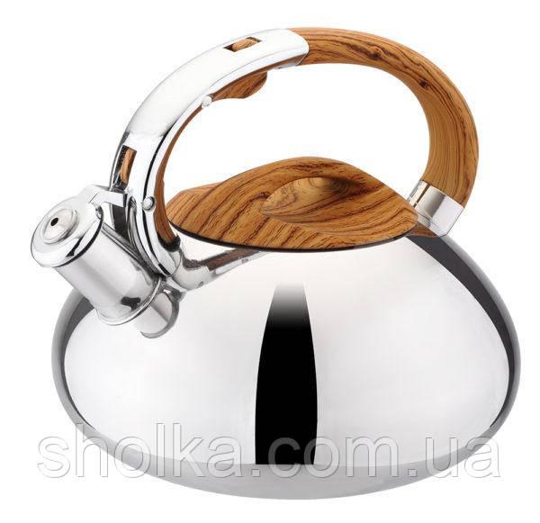 Чайник Benson из нержавеющей стали со свистком 3л. Деревянная ручка.