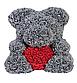 Мишка из искусственных роз в коробке 40 см (7 цветов), фото 2