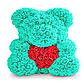 Мишка из искусственных роз в коробке 40 см (7 цветов), фото 3