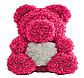 Мишка из искусственных роз в коробке 40 см (7 цветов), фото 4