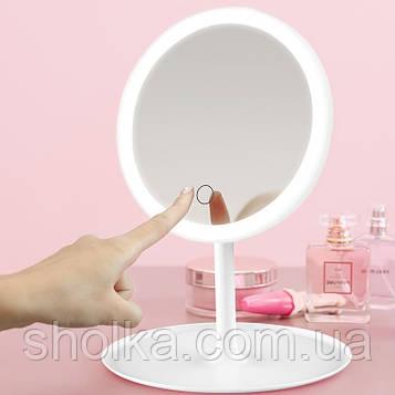 Косметичне дзеркало з LED підсвічуванням та вбудованим акумулятором, біле