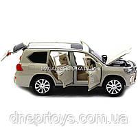 Машинка игровая автопром «Lexus LX570» Лексус джип, металл, 18 см, Белый (свет, звук, двери открываются) 7691, фото 3
