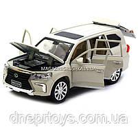 Машинка игровая автопром «Lexus LX570» Лексус джип, металл, 18 см, Белый (свет, звук, двери открываются) 7691, фото 4