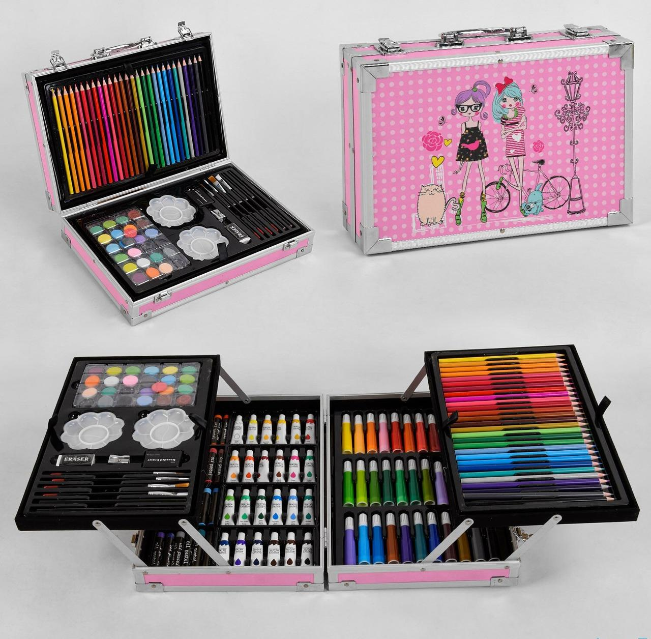 Набір художника у валізі з фарбами, палітрою, фломастерами та олівцями С 44494 (145 предметів)