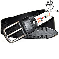 Ремінь чоловічий джинсовий (чорний) з тисненням шкіряний 40 мм - купити оптом в Одесі