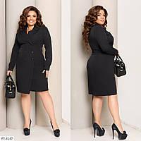 Двубортное классическое платье-пиджак из костюмной ткани, №344, черный, 48-58р.