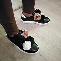 Женские слипоны кроссовки кеды черные с цветами размеры 35,37,38