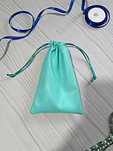 Подарунковий мішечок з еко-шкіри 10*16 см (шкіряний мішечок, мішечок для прикрас) колір - м'ята