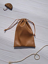 Подарунковий мішечок з еко-шкіри 10*16 см (шкіряний мішечок, мішечок для прикрас) колір - карамель