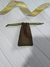 Подарочный мешочек изо льна 6*9 см (льняной мешочек, мешочек для украшений) цвет - хаки