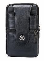 Зручна поясна сумка шкіряна Vintage 20362 Чорний, фото 1