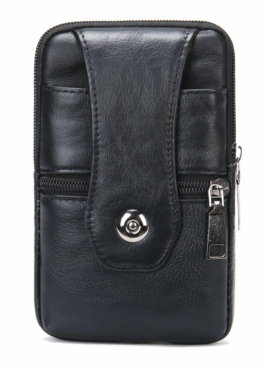 Зручна поясна сумка шкіряна Vintage 20362 Чорний