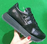 Кроссовки кожаные черные с лаковыми и замшевыми вставками