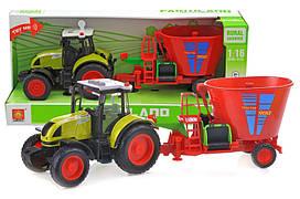 Інерційна пластикова машинка Трактор з сівалкою WY900K, світло, звук, масштаб 1:16