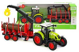 Інерційна пластикова машинка Трактор з причепом WY900M, світло, звук, масштаб 1:16