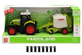 Інерційна пластикова машинка Трактор з сівалкою WY900L, світло, звук, масштаб 1:16