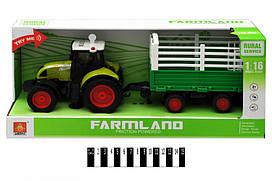 Інерційна пластикова машинка Трактор з причепом WY900L, світло, звук, масштаб 1:16