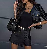 Жіноча чорна шкіряна куртка-бомбер, фото 1