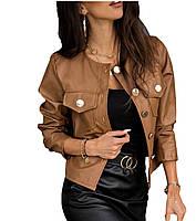 Жіноча шкіряна куртка-бомбер теракот, фото 1