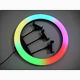 Кольцевая лампа для тик тока LED RGB MJ36 (36 см) 3 крепление Разноцветная кольцевая лампа Селфи кольцо RGB, фото 10