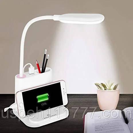 Настольная LED лампа с USB зарядкой для смартфона - 1200Mah встроенный аккумулятор