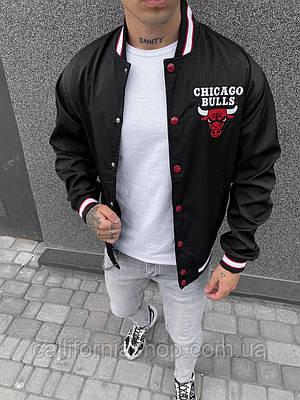 Мужская ветровка бомбер Chicago Bulls черная на кнопках Чикаго Буллз