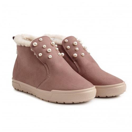 Женские ботинки утепленные стильные Пудра