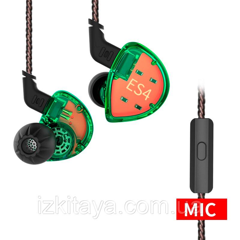Наушники проводные KZ ES4 гарнитура с микрофоном green