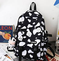 Рюкзак городской / школьный / для девочки / женский / с коровьим принтом / черный