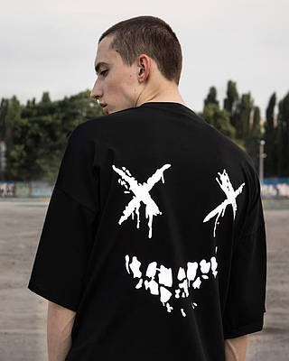 Чоловіча чорна футболка оверсайз з малюнком бавовна Haipp ween