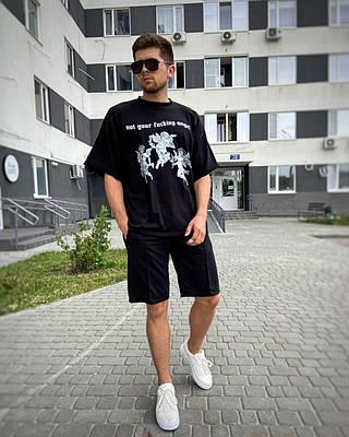 Чоловіча чорна футболка оверсайз з малюнком бавовна Not your angel
