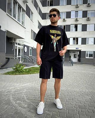 Чоловіча чорна футболка оверсайз з малюнком бавовна NRV
