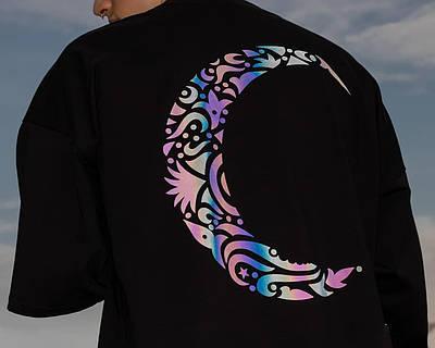 Чоловіча чорна футболка оверсайз з малюнком бавовна Haipp half moon