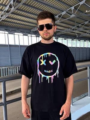 Чоловіча чорна футболка оверсайз з малюнком бавовна Haipp magic
