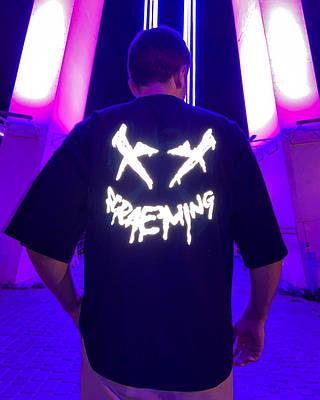 Чоловіча чорна футболка оверсайз з малюнком бавовна Scream